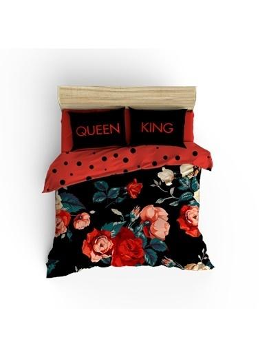 Helen George Helen George King&Queen 200 X 220 Cm Çift Kişilik Desenli Pamuk Saten Nevresim Takımı Siyah